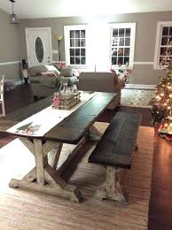 Farmhouse Dining Set With Bench Adorable Room Plans Table And Domestic