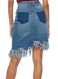 asymmetrical frayed denim skirt rainbow