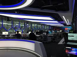 To The Space Age Desk For Sports Reporter Through Colourfully Lit News Where Anchor And Any Accompanying Studio Guest S Sit