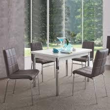 esszimmer sitzgruppe in grau weiß sisela mit kunstleder stühlen 5 teilig