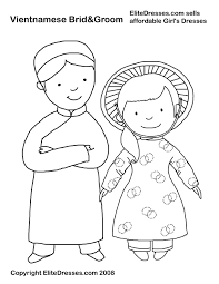 Vietnamese Bride And Groom Coloring Page