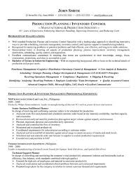 Production Planner Resume Sample Template
