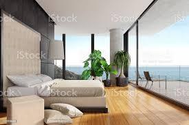 moderner luxus schlafzimmer mit bambusboden in einer villa am strand stockfoto und mehr bilder 2019