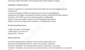 Records Management Resume Medical And Health Information Technicians Sample Objective Examples