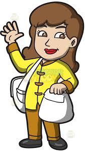 Woman Waving Hello Clipart