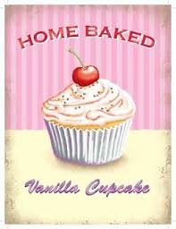 Home Baked Vanilla Cupcake Blechschild