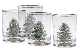 Spode Christmas Tree Highball Glasses by Set Of 4 Spode Christmas Tree Old Fashioned Glasses 22k Gold Rim