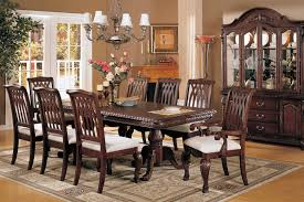 Astounding Mahogany Dining Room Sets Installed In Wooden Back Chairs Completed By White Soft Cushion Also Dark Brown Hardwood Table Below Silver