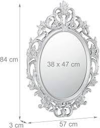 relaxdays pp flur ovaler spiegel zum aufhängen pappe bad