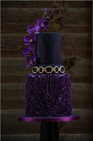 Purple Black And Gold Wedding Cake