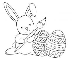Bunny Painting Eggs Coloring Page Easter Face Pages To Print Colouring Printable