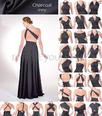 long infinity dress in charcoal grey gray shiny full free style