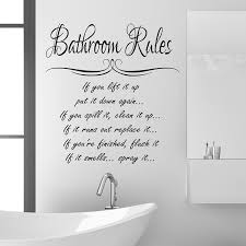Bathroom Rules Wall Sticker Quote Funny Vinyl Decal Graphic Transfer Mural Art 55x100 Black Amazoncouk Kitchen
