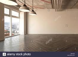 100 Exposed Ceiling Design Spacious Empty Room With Herringbone Parquet Floor And