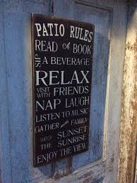 Patio Rules Sign Rustic Style Customizable Shabby Chic Vintage Word Art