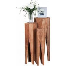 beistelltisch 3er set kada massivholz wohnzimmer tisch säulen landhausstil couchtisch quadratisch braun wohnling
