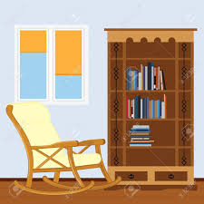 100 Rocking Chair With Books Reading Room Bookcase And Window