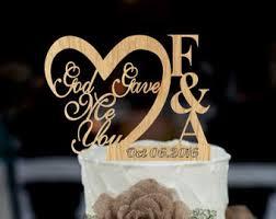 God Gave Me You CakeTopper Rustic Wedding Cake Topper Monogram