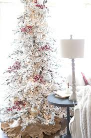 Flocked Christmas Tree Farmhouse Family Room Red And White With Mercury Glass Decorating