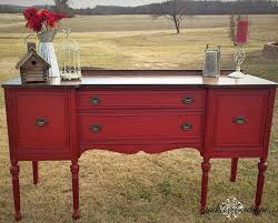 Sideboard Painted Posh Red With A Walnut Stained Top The Color Antique Mahogany Buffet
