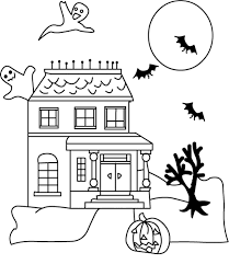 Haunted House Halloween Coloring Pages Free