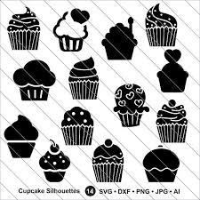 Cupcake Silhouettes SVG cupcake clipart cake clipart Cupcake svg Cut File DXF PNG Use with Silhoutte Studio & Cricut Instant Download