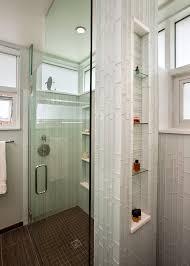 glass tile bathroom bathroom contemporary with corner niche