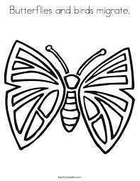 Butterflies And Birds Migrate Coloring Page