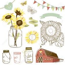 Glass Jars Sunflowers Ribbons Bunting Butterflies And Cute Rustic Barn Illustration