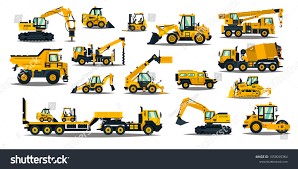 Large Set Construction Equipment Yellow Special Stock Vector ...