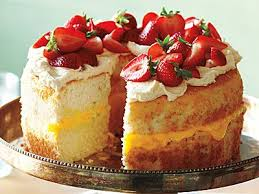 Angel Food Cake With Strawberries And Lemon Cream Classic Dressed Up