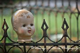 Halloween Graveyard Fence Prop by Decapitated Doll Head On A Cemetery Fence Art Photo Creepy