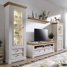 landhaus wohnwand charming in weiß und eichefarben aus