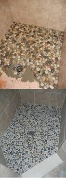 river rock bathroom floor diy shower sealer ideas cleaning