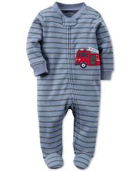 Carter's Baby Boys' 1-Pc. Striped Fire Truck Footed Pajamas | Kevin ...