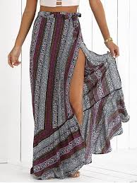 Outfit High Slit Bohemian Printed Maxi Skirt