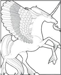 Picture Of A Unicorn To Color Realistic Coloring Pages Flying
