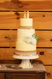 A Burlap And Lace Wedding Cake With Smooth Buttercream Fondant Ruffles Edible Wafer