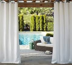 Sunbrella Curtains With Grommets by Outdoor Drapes U0026 Hardware Pottery Barn