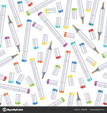 Markers Seamless Pattern Art Background Realistic Multicolored Professional Marker On White Backdrop Vector Supplies Materials For Wallpaper