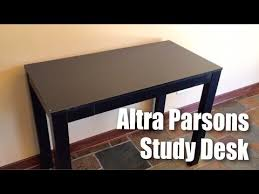 altra parsons study desk with drawer in black finish by altra