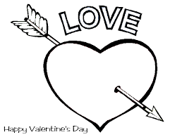 Happy Valentines Day Heart With Arrow Coloring Page