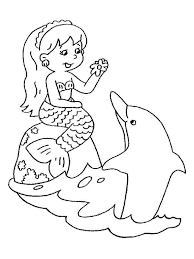 Chibi Mermaid And Her Friend Dolphin Coloring Pages