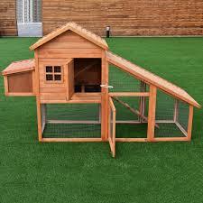 TANGKULA 75 Wooden Pet House Chicken Coop Rabbit Bunny Cage Backyard