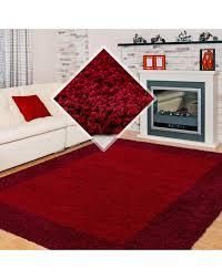 hochflor langflor wohnzimmer shaggy teppich 2 farbig rot und bordeaux größe 60x110 cm