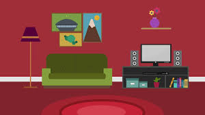 Cartoon Modern Colorful Living Room Animation With Space For Your Text Or Logo Cool Vector Typical Background 4k Rest And Relax Concept