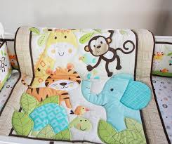 2016 selling cotton baby bedding set embroidery tiger monkey