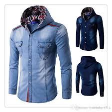 2018 Designer Shirts Men Spring Autumn Fashion Big Size Mens Casual Cotton Washing Denim Hooded Us SizeXs Xl From Huibinhui1314 2646