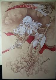 Chaos Comics Lady Death Pin Up 11 X17 Original Art Comic