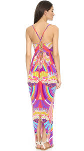 mara hoffman cutout maxi dress rainbow bird lilac in purple lyst